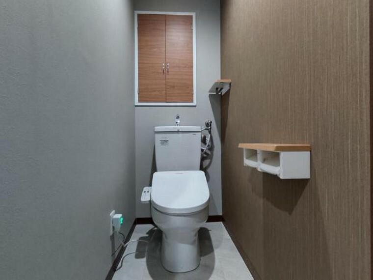 トイレ 【リフォーム後トイレ】新品のトイレを設置致しました。便座は温度調整ができるので、寒い冬でも安心して利用できます。