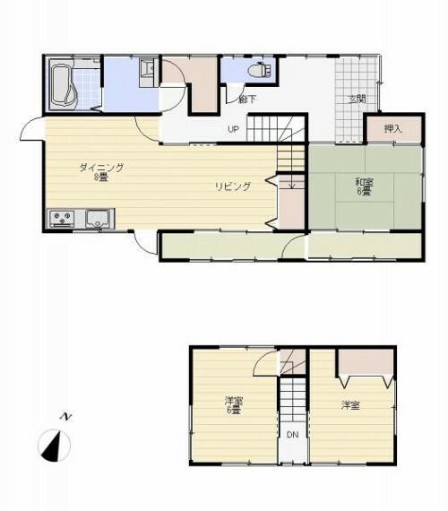 間取り図 リフォーム後の間取りは3LDKの二階建てです。リビングを拡張しております。水回りはすべて交換済みで、新居では気持ちよくご使用いただけます。