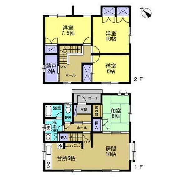 間取り図 【間取図】1階に2部屋ある4LDK住宅です。各部屋に収納がありとても使いやすい間取です。