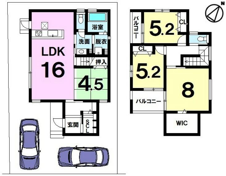 間取り図 分譲地内・駐車2台可・コミュニケーション弾むリビング階段・スーパー徒歩6分・小学校徒歩11分