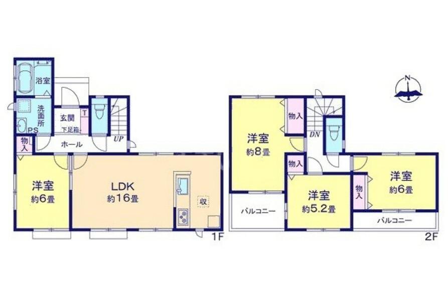 間取り図 全居室南向き、収納付きの4LDK。全室フローリングなのでお掃除らくらく。