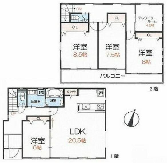 間取り図 全居室6帖以上のゆとりある間取り。 テレワークスペースのあるお住まい。 全居室南向きで陽当り良好。