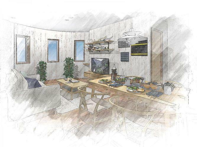 居間・リビング 同間取りのリビングイメージ図です