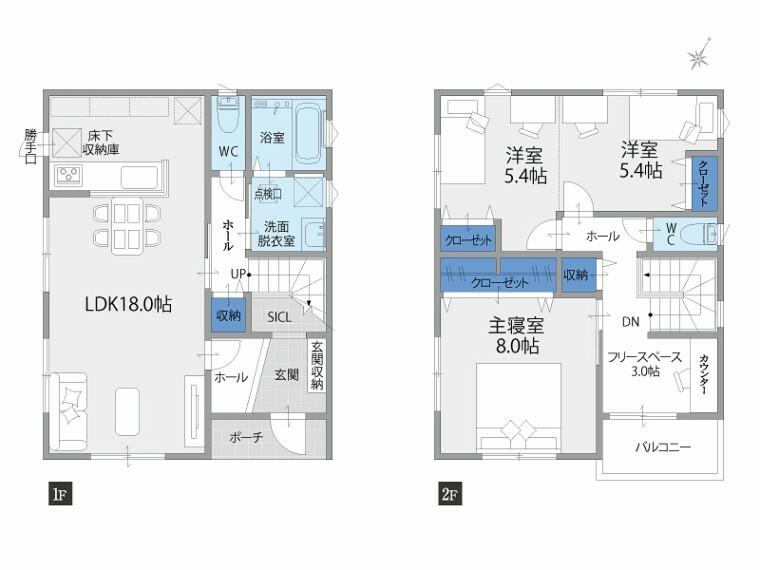 間取り図 【3号地 間取り】3280万円(消費税込) 3LDK+駐車スペース2台 土地面積:180.00m2 延床面積:99.36m2