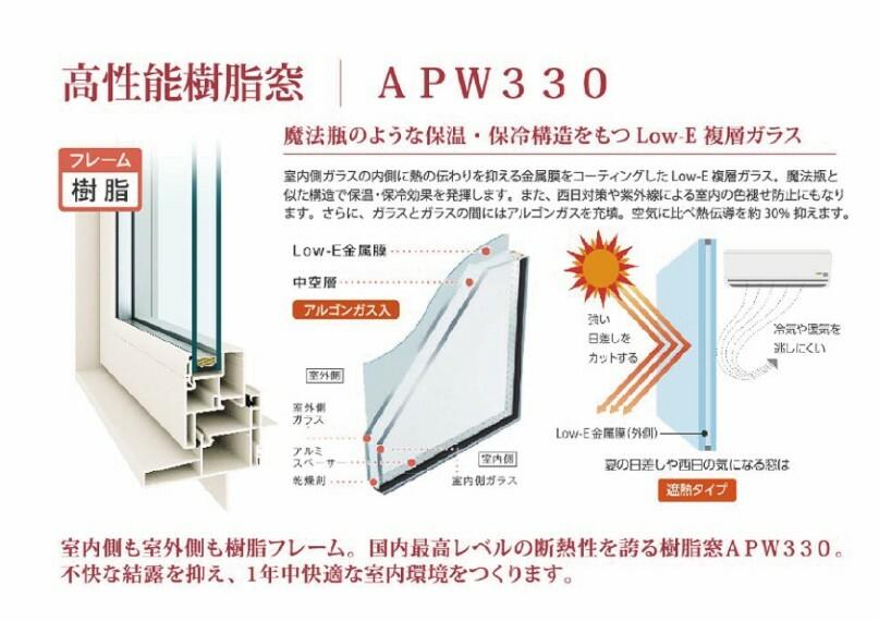 構造・工法・仕様 【YKK ap 高性能樹脂窓APW33】 魔法瓶のような保温・保冷構造をもつLOW-E複層ガラス。さらに室内側も室外側も樹脂フレーム。国内最も高いレベルの断熱性を誇るAPW330。