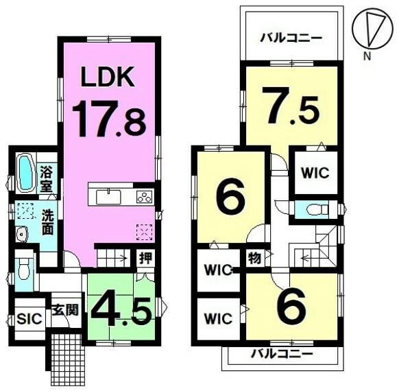 間取り図 【豊富な収納が魅力】家族の会話も弾むリビング階段 4LDK中古戸建 詳細はお問合せ下さい