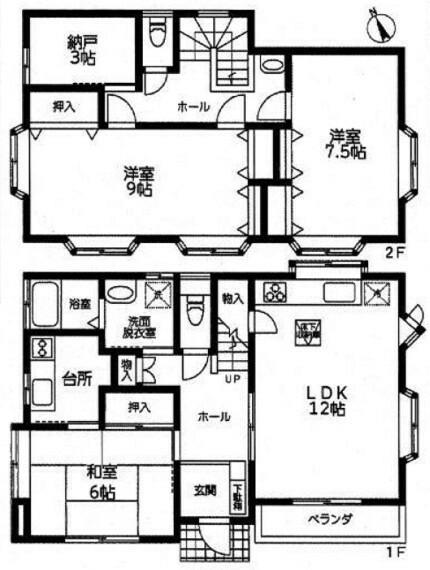 間取り図 お部屋は3SLDK。床下収納や納戸などの便利な収納付。