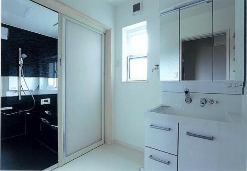 洗面化粧台 鏡の両サイドは必要なものを取り出しやすい棚タイプ収納になっています。