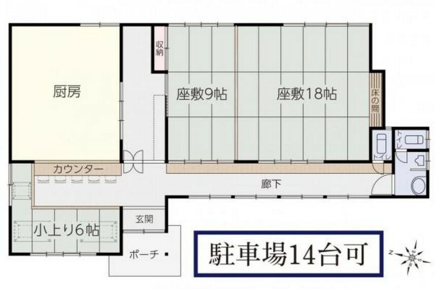 間取り図 広いお座敷と小上がりのお座敷の計33帖分のスペースに加え、カウンター席も残っております。