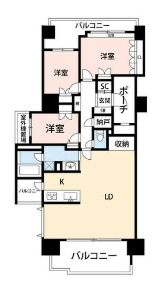 間取り図 23.3帖のLDK。各居室に収納が付いているのでお部屋を広々とお使いいただけます^^内装リフォーム済みです。