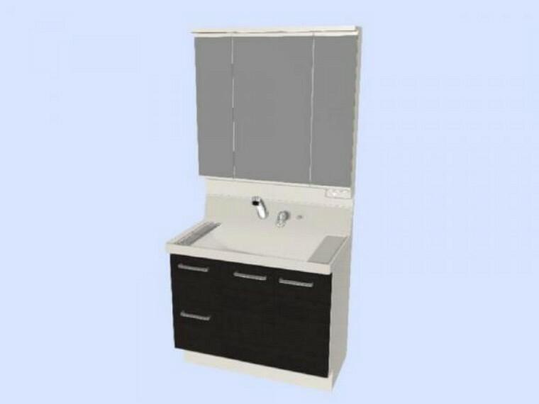 専用部・室内写真 【同仕様写真】洗面化粧台はLIXIL製の新品に交換します。排水口を右奥に設置することで、洗面ボウルの広さを最大限生かせます。洗面ボウルは底が平らなので、つけ置き洗いなどの家事でも活躍します。