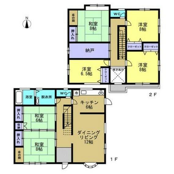 間取り図 【リフォーム中】リフォーム後の間取りです。全ての部屋が6帖以上の6LDKです。リフォーム後は2階の和室が洋室に変わります。