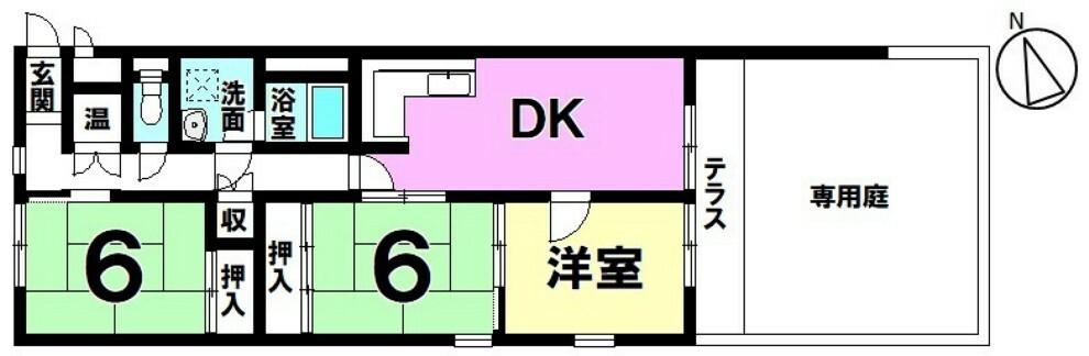 間取り図 第一種低層で穏やかな住宅街  プライベート空間広がる専用庭付き中古マンション!