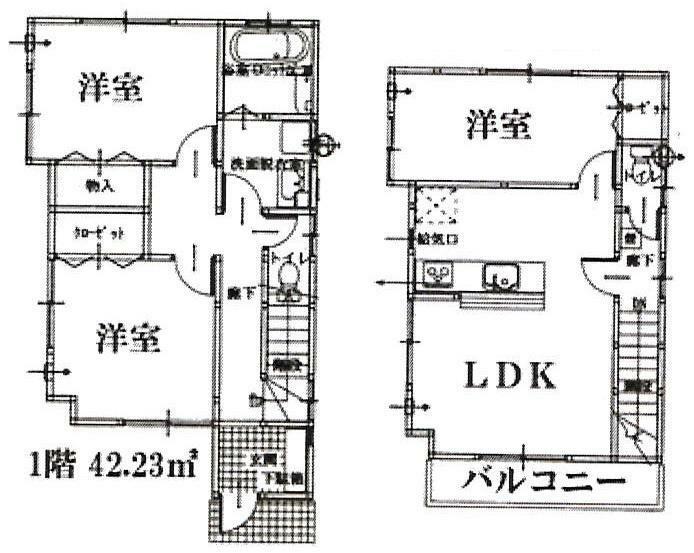 間取り図 2号棟:LDK13.5帖、洋室5.25帖、6帖、6.25帖の3LDK