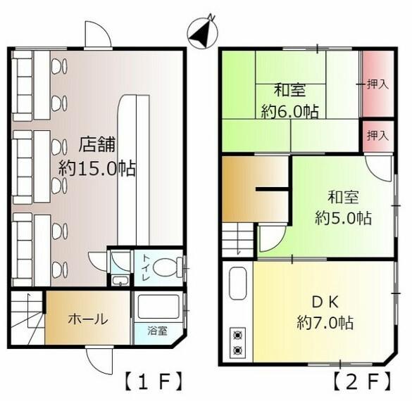 間取り図 1階店舗+2階住居。店舗にはカウンター席があり用途多彩です。