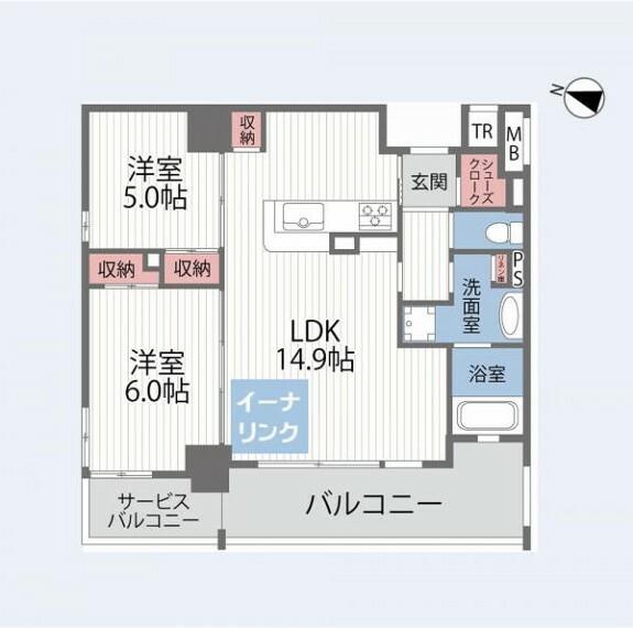 間取り図 2LDK 専有面積59.06平米 バルコニー面積8.76平米 西向き 19階建て11階部分