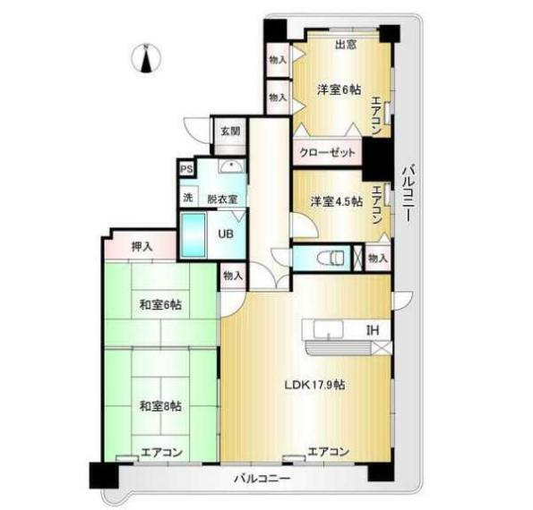 間取り図 採光眺望通風良好な3階部分の東南角部屋!広々間取の4LDK!3面バルコニー付!専有面積94.94平米!