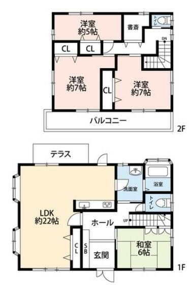 間取り図 22畳のLDK、2階には各部屋収納付きの洋室と書斎があります。内覧も出来ますのでお気軽にお問い合わせください^^
