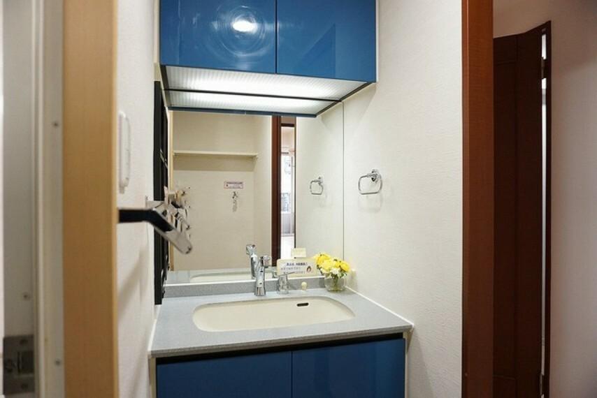洗面化粧台 収納が隠れて使いやすい、シャワー付き三面鏡洗面ドレッサーです。