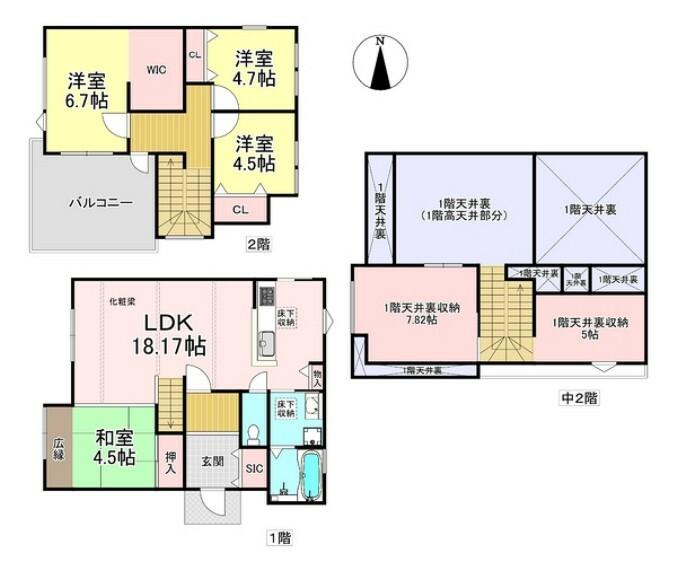 間取り図 ゆったりとした間取りに大容量の収納があり、使い勝手の良いお家です!