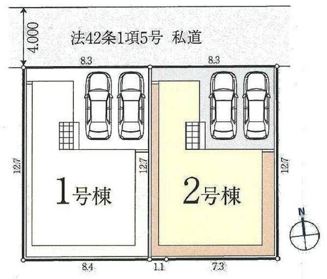 区画図 カースペースは2台駐車可能です。 車通りの少ない安心できる環境です!
