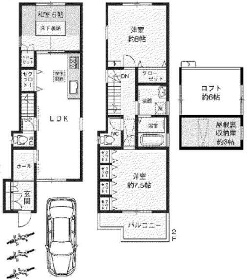 間取り図 3LDK+カースペース+ロフト 南向きの明るい住居 お家時間を楽しみましょう お気軽にお問い合わせください。