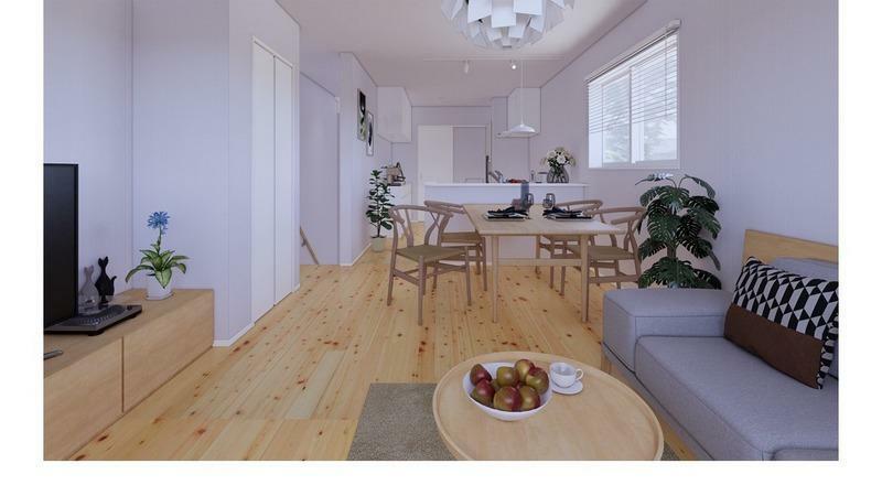 リビングダイニング (施工事例)LDK:床には木のぬくもりを感じられる無垢材を使用