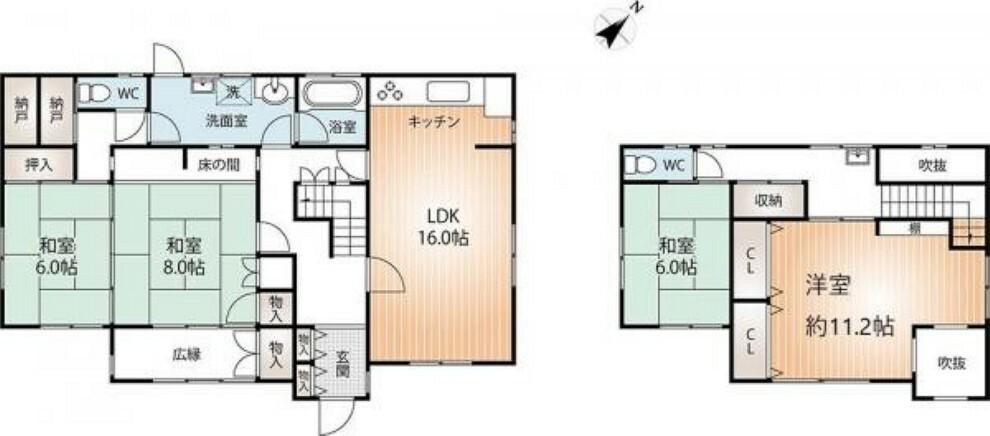 間取り図 4LDK  8帖の広々とした床の間付きの和室もあります!