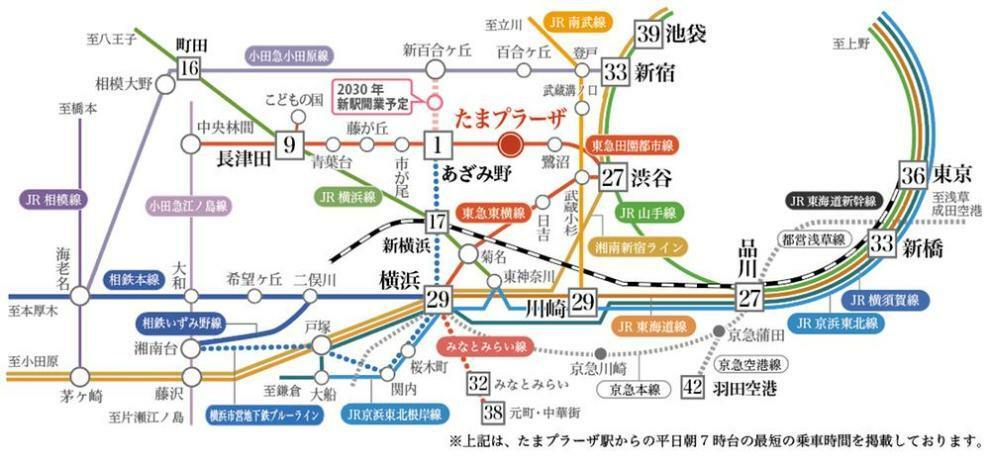 4駅2路線利用可。田園都市線「たまプラーザ」から都内主要駅へ快適アクセス。2030年にヨネッティー王禅寺付近に横浜市営地下鉄延伸の新駅が開業予定でより便利に。