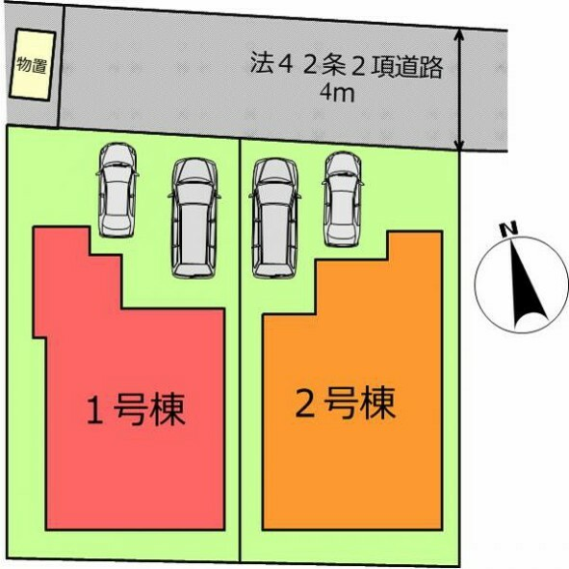 区画図 (区画)並列2台駐車可能!共働き夫婦も安心
