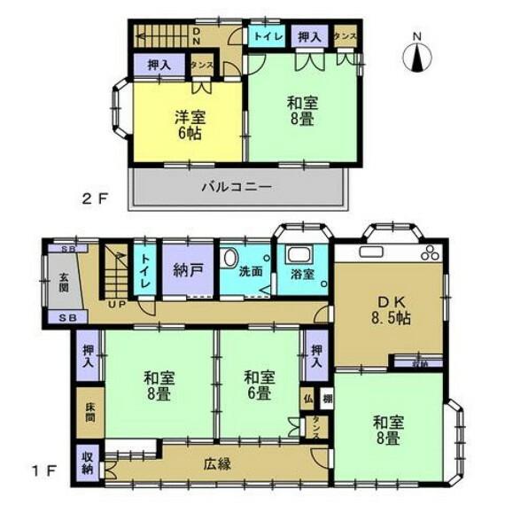 間取り図 リフォーム前の間取です。木造瓦葺・建物面積127.86平米(38.6坪)・5SDK・2階建の建物です。和室をリビングに変更し4SLDKの間取に変更します。納戸付きなので収納スペースには困りません。