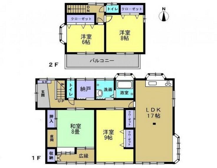 間取り図 リフォーム後の間取です。木造瓦葺・建物面積127.86平米(38.6坪)・4SLDK・2階建の建物です。和室2部屋をリビング・洋室に変更します。納戸付きなので収納スペースには困りません。