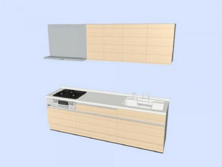 専用部・室内写真 【同仕様写真】キッチンはハウステック製の新品に交換します。多収納タイプ。天板は熱や傷にも強い人工大理石仕様なので、毎日のお手入れが簡単です。※企画は変更になる場合があります。吊戸棚はつきません。