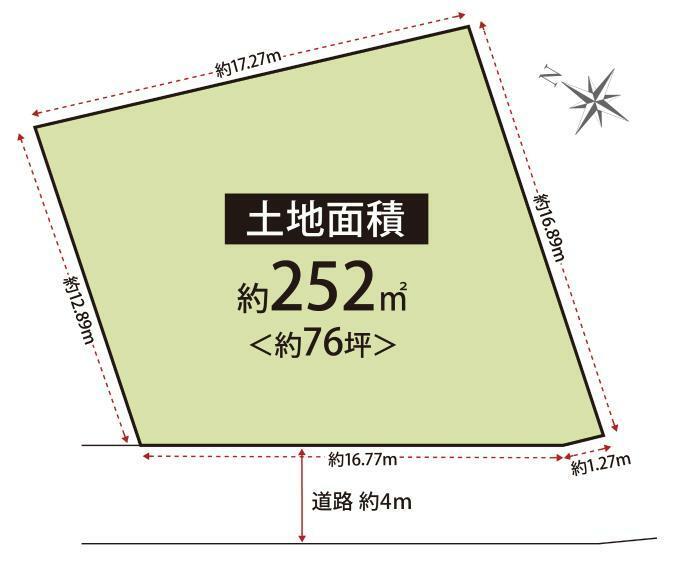 土地図面 建築条件なしです!お好きな間取り、仕様で建築して頂けます!間口広々約18m、土地面積約76坪!