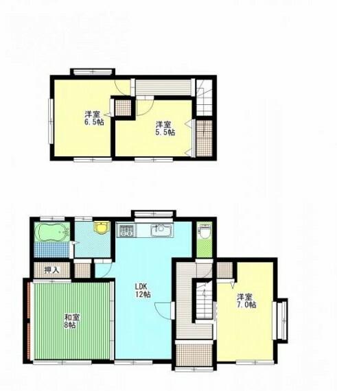 間取り図 【リフォーム済】間取りは4LDKです。収納を各居室に新設致します。LDKと続いた和室がありますので、広々お使いいただけます。