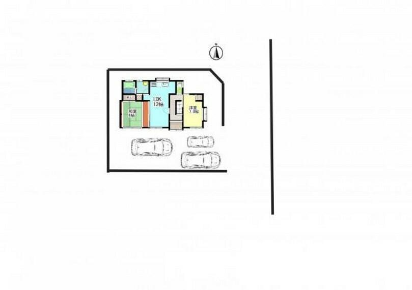 区画図 【区画図】駐車場の位置です。普通車2台、軽自動車1台駐車可能です。