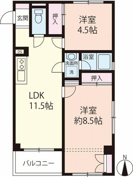 間取り図 7階建ての7階部分!最上階、角部屋、南向きバルコニーのお部屋です!室内は、きれいになっております!