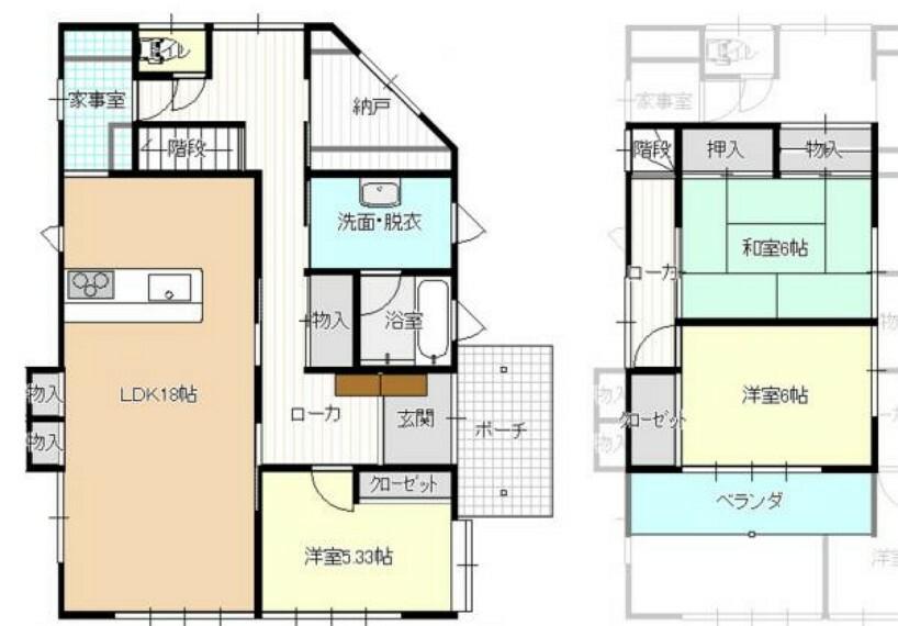 間取り図 【完成予想間取図】RF後完成予想間取図です。和室2部屋をLDKに間取り変更を行い、水回りの位置も変更する予定です。