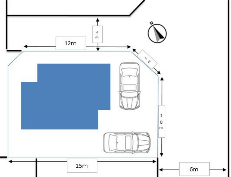 区画図 【配置図】北東角地です。北側公道約4m、東側公道約6mです。駐車は2台可能です。