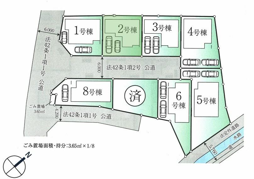 区画図 2号棟:並列2台駐車可能(車種によります)
