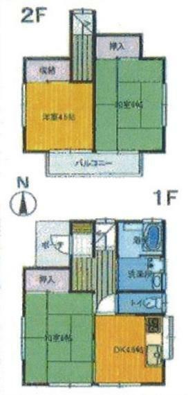 間取り図 居室3部屋の3DKです。全居室2面採光につき日当たり、通風良好。
