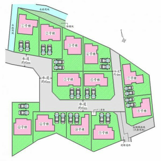 区画図 全体配置図 駐車2台可能です。