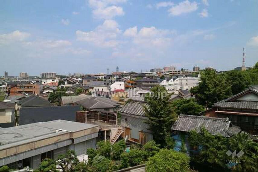 眺望 ルーフバルコニーからの眺め。周辺は低層の建物が立ち並ぶ住宅街です。高い建物がなく、眺望、日当たり良好です。
