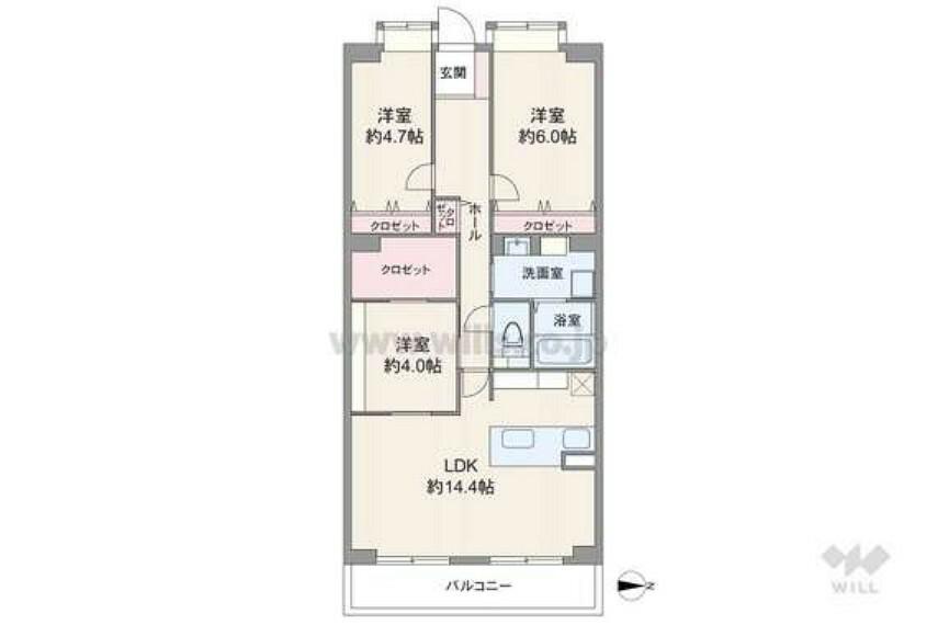間取り図 3LDK、約85平米の広々としたお住まいです。収納スペースが豊富ですのでお部屋の中をすっきりと保っていただけます!
