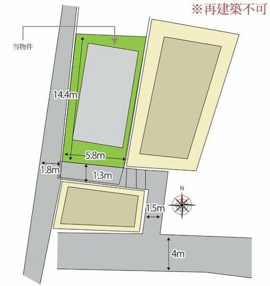 土地図面 陽当たりの確保された明るい立地です。2階建の古屋付(再建築不可)