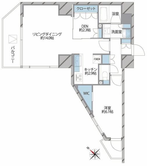 間取り図 各所に収納スペースがあり、お部屋を有効的にお使いいただけます