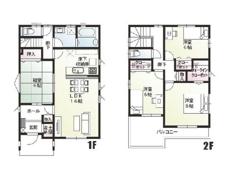 間取り図 B号棟 間取図・・・各居室の収納の加えて共用物入れや大きなウォークインクローゼットなど収納が充実した間取りです!