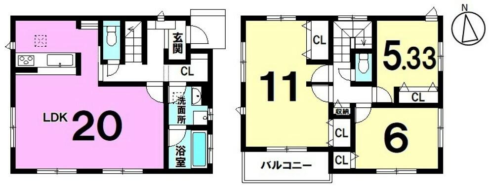 間取り図 土地面積 127.52平米 建物面積 99.77平米 3LDK 駐車場2台