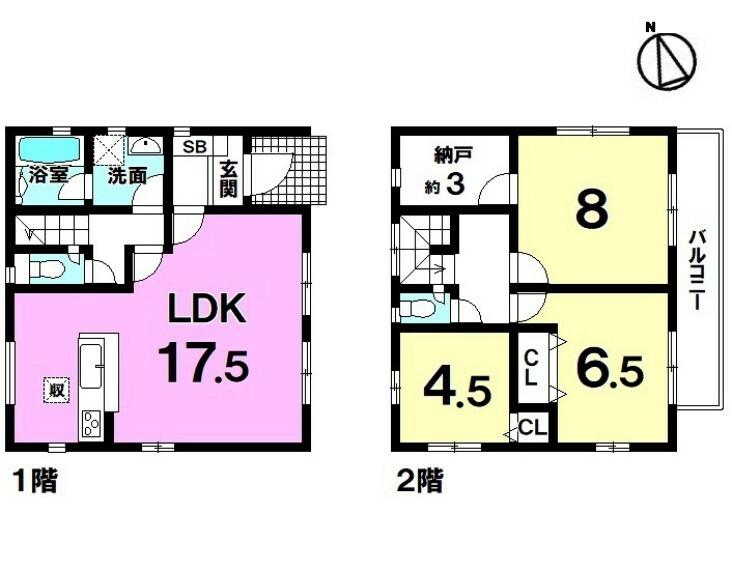 間取り図 【新築戸建】2021年5月完成!安里駅徒歩14分!2階建・3LDK・納戸付!小・中学校徒歩10分圏内