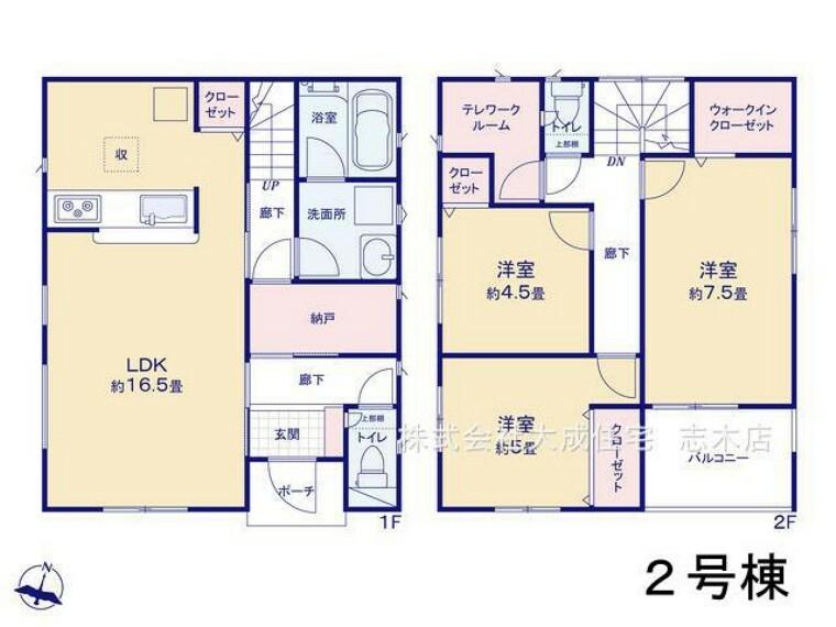 間取り図 2号棟:収納部屋ともしても利用可能な納戸や、テレワークルーム、WICなど収納豊富^^